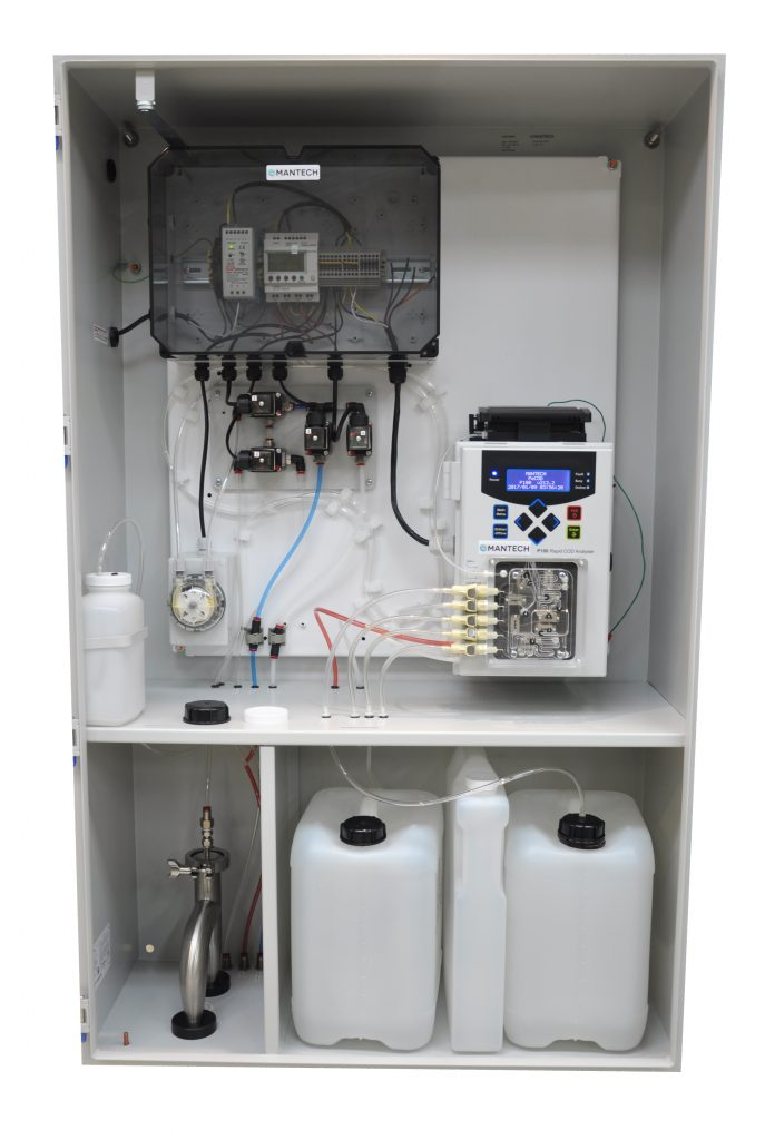 Online real time chemical oxygen demand analyzer in a cabinet.
