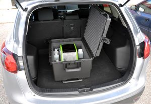 PeCOD Analyzer in a portable case in the back of a car.