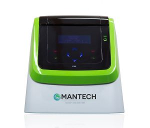 MANTECH PeCOD® Analyzer for chemical oxygen demand analysis. Unit is powered on with main menu visible.