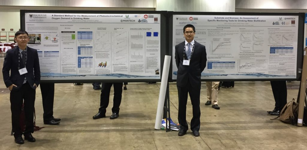 Academic posters highlighting the PeCOD® Analyzer technology for drinking water applications.